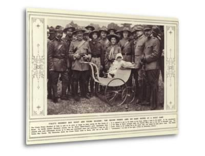 Italy's Keenest Boy Scout and Young Soldier, the Crown Prince, and His Baby Sister, at a Scout Camp--Metal Print