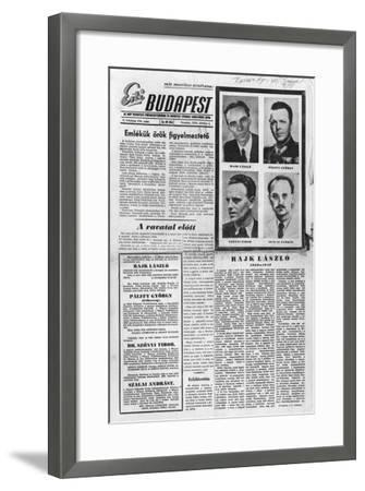 Reburial of the Victims of the Rajk Trial, Illustration from 'Budapest Soir', 6th October 1956--Framed Giclee Print
