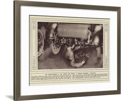 The Women-Workers of the Present, and Future, a Mechanic Repairing a Motor-Car--Framed Photographic Print