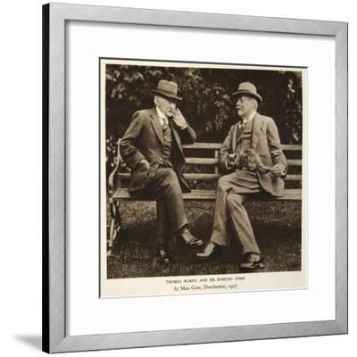 Thomas Hardy and Sir Edmund Gosse at Max Gate, Dorchester, 1927--Framed Photographic Print
