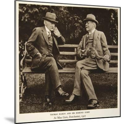 Thomas Hardy and Sir Edmund Gosse at Max Gate, Dorchester, 1927--Mounted Photographic Print