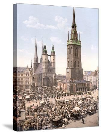 Market Day in Halle with the Red Tower in the Background, Germany, Pub. C.1895--Stretched Canvas Print