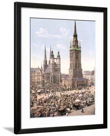 Market Day in Halle with the Red Tower in the Background, Germany, Pub. C.1895--Framed Photographic Print
