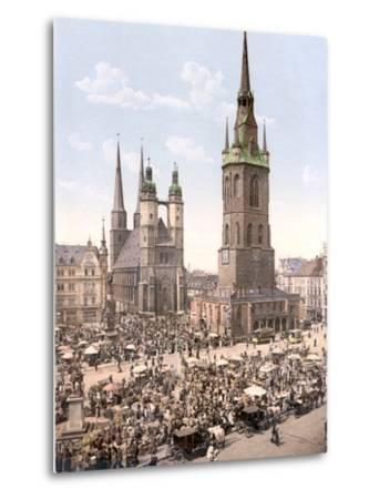 Market Day in Halle with the Red Tower in the Background, Germany, Pub. C.1895--Metal Print