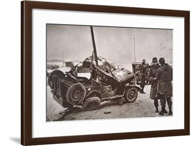 Wrecked Jeep in Which U.S. General Walker Died in a Road Collision, 23th December 1950--Framed Photographic Print