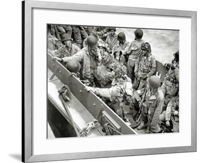 A Group of Glider Pilots Is Returning to England in a Landing Craft, Vehicle, Personnel--Framed Photographic Print