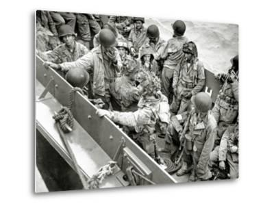 A Group of Glider Pilots Is Returning to England in a Landing Craft, Vehicle, Personnel--Metal Print
