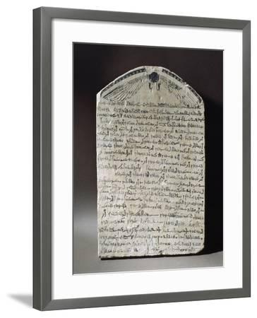 Stone Stele with Ink Demotic Inscription and Depiction of Black Solar Disk--Framed Giclee Print
