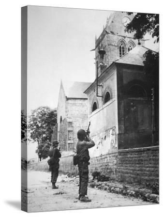 Us Paratrooper Fires into Church Steeple at Sainte Mere Eglise to Clear Enemy Sniper, 6th June 1944--Stretched Canvas Print