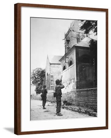 Us Paratrooper Fires into Church Steeple at Sainte Mere Eglise to Clear Enemy Sniper, 6th June 1944--Framed Photographic Print