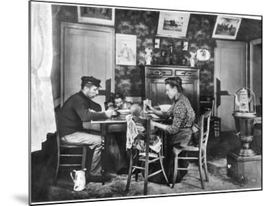 Family around a Table, from a Photo Album on Housing Development in Lens, 1906--Mounted Photographic Print