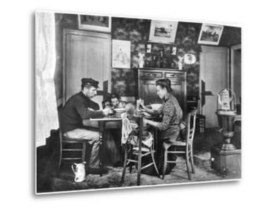 Family around a Table, from a Photo Album on Housing Development in Lens, 1906--Metal Print