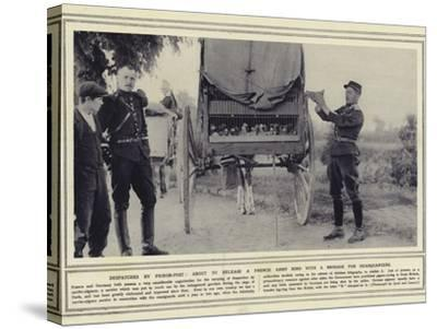 Despatches by Pigeon-Post, About to Release a French Army Bird with a Message for Headquarters--Stretched Canvas Print