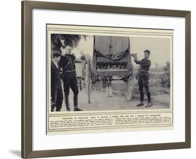Despatches by Pigeon-Post, About to Release a French Army Bird with a Message for Headquarters--Framed Photographic Print