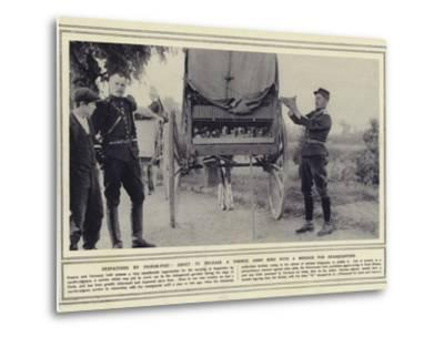 Despatches by Pigeon-Post, About to Release a French Army Bird with a Message for Headquarters--Metal Print