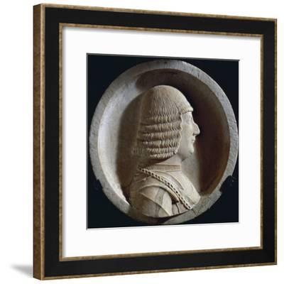 Marble Medallion with Image of Ludovico Maria Sforza, also known as Ludovico Il Moro--Framed Giclee Print