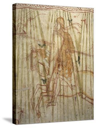 Italy, Friuli Venezia Giulia Region, Aquileia, Cathedral, Crypt, Fresco with Knight--Stretched Canvas Print