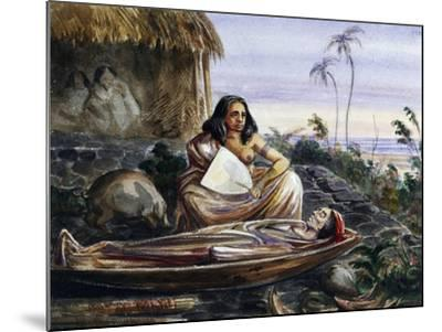 Funeral Wake on Marquesas Islands, Watercolour by Maximilien-Rene' Radiguet--Mounted Giclee Print