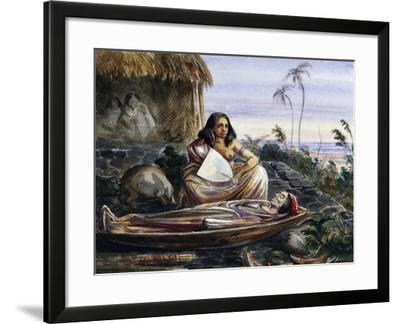 Funeral Wake on Marquesas Islands, Watercolour by Maximilien-Rene' Radiguet--Framed Giclee Print