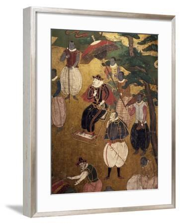 The Portuguese Arriving in Japan, Detail from Paper Screen, Japan, Nanban Art--Framed Giclee Print