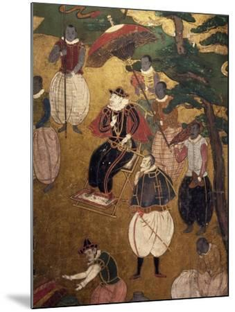 The Portuguese Arriving in Japan, Detail from Paper Screen, Japan, Nanban Art--Mounted Giclee Print