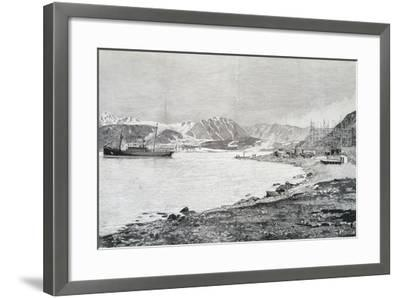 Arriving at Base on Island of Danes, Scene from Account by Salomon August Andree--Framed Giclee Print