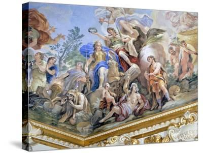 Fortress, Detail of Cycle of Frescoes in Hall of Mirrors of Cycle by Luca Giordano--Stretched Canvas Print