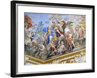 Fortress, Detail of Cycle of Frescoes in Hall of Mirrors of Cycle by Luca Giordano--Framed Giclee Print