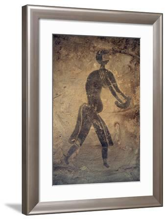Masked Woman, Cave Painting, in Style of Man with Round Head, Bubalus Period--Framed Giclee Print