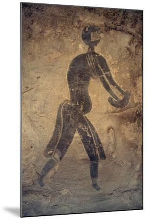 Masked Woman, Cave Painting, in Style of Man with Round Head, Bubalus Period--Mounted Giclee Print