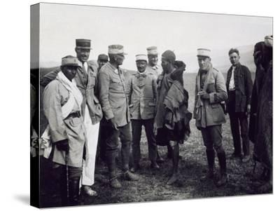 Officers Interrogating a Riff Prisoner, Follower of Abd-El-Krim, the Rif War--Stretched Canvas Print