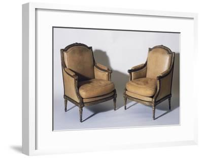 Pair of Louis XVI Style Gilt French Wood Bergeres, Signed by Jean-Baptiste Boulard--Framed Giclee Print