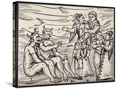 Children Being Initiated into Satanic Rituals, Engraving from Compendium Maleficarum--Stretched Canvas Print