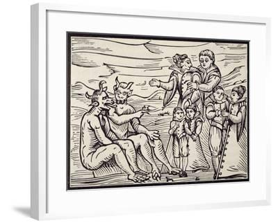Children Being Initiated into Satanic Rituals, Engraving from Compendium Maleficarum--Framed Giclee Print