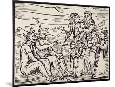 Children Being Initiated into Satanic Rituals, Engraving from Compendium Maleficarum--Mounted Giclee Print