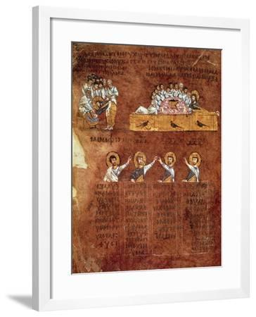 The Last Supper and the Washing of Feet, Miniature from the Rossano Gospels--Framed Giclee Print