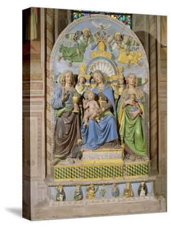 Madonna and Child Enthroned, the Medici Chapel Altarpiece by Andrea Della Robbia--Stretched Canvas Print