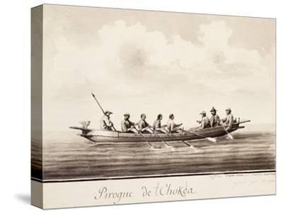 Canoe at Island of Sakhalin, Engraving Based on Drawing by Francois-Michel Blondela--Stretched Canvas Print