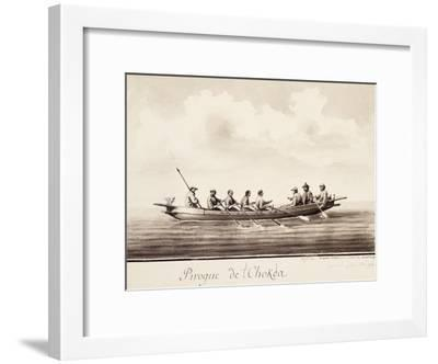 Canoe at Island of Sakhalin, Engraving Based on Drawing by Francois-Michel Blondela--Framed Giclee Print
