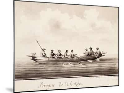 Canoe at Island of Sakhalin, Engraving Based on Drawing by Francois-Michel Blondela--Mounted Giclee Print
