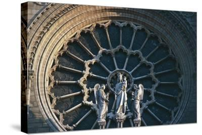 Madonna and Child with Two Angels, Rose Window on the West Facade, Notre-Dame Cathedral--Stretched Canvas Print