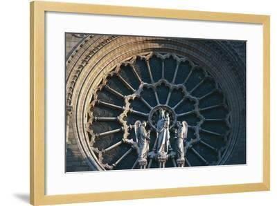 Madonna and Child with Two Angels, Rose Window on the West Facade, Notre-Dame Cathedral--Framed Giclee Print