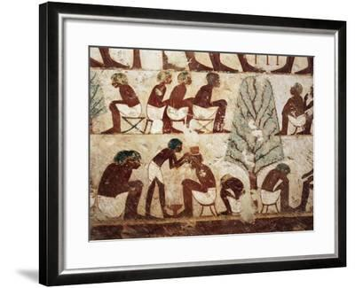 Egypt, Luxor, West Thebes, Sheik El Gurnak. Tomb of Usirhat, Barber, Details from Fresco--Framed Giclee Print