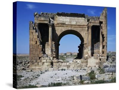 Triumphal Arch of Septimius Severus Dedicated in 195 Ad in Ancient Roman City of Ammaedara--Stretched Canvas Print
