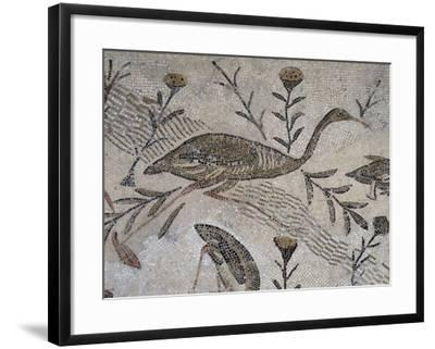 Ducks and Flowers, Detail from Mosaic Depicting Nilotic Landscape, Uncovered in Thysdrus--Framed Giclee Print