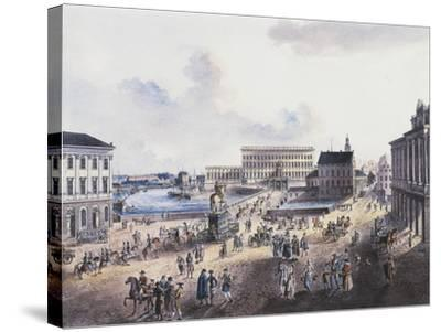 View of Stadsholmen Island, with King Gustavo Adolfo's Statue, Royal Palace and Cathedral--Stretched Canvas Print