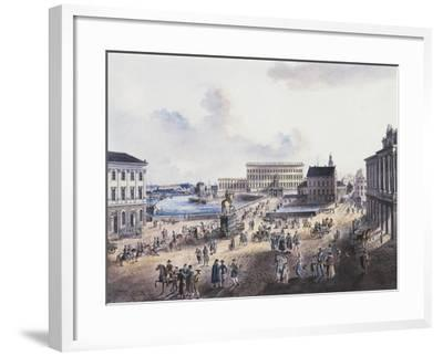 View of Stadsholmen Island, with King Gustavo Adolfo's Statue, Royal Palace and Cathedral--Framed Giclee Print