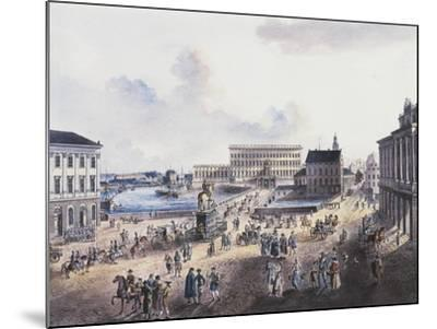 View of Stadsholmen Island, with King Gustavo Adolfo's Statue, Royal Palace and Cathedral--Mounted Giclee Print
