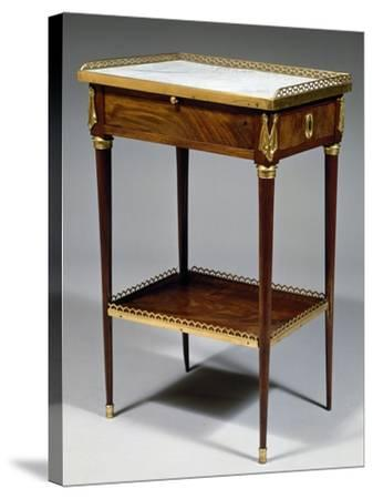 Louis XVI Style Table with Mahogany Veneer Finish and Marble Top, Stamped Charles Topino--Stretched Canvas Print