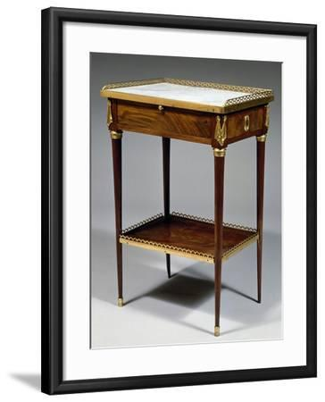 Louis XVI Style Table with Mahogany Veneer Finish and Marble Top, Stamped Charles Topino--Framed Giclee Print